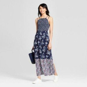 Womens Floral Print Strappy Smocked Top Maxi Dress